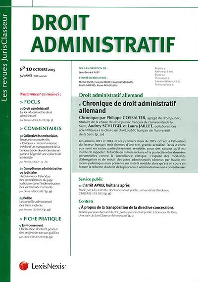 Chronique de droit administratif allemand DA 2015 n° 10